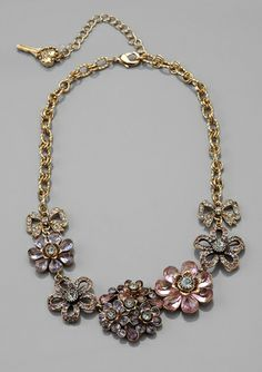 BETSEY JOHNSON Floral Charm Necklace