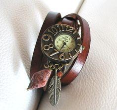 Montre originale cadran vintage bracelet 3 tours par Cristalizade