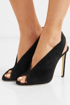2327c7c7f5d Jimmy Choo - Shar 100 Suede Slingback Pumps - Black Unique Shoes