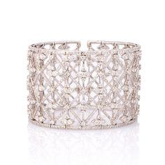 Wide Diamond and White Gold Flexible Cuff Bracelet  kazanjianandfogarty.com