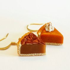 Handmade Pie Earrings - Polymer clay Pie Earrings - Miniature Food Jewelry - Polymer Clay Pecan Pie Earrings - Polymer Pumpkin Pie Earrings