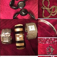 Bundled fashion jewelry 3 watches, 2 black arm bracelets, 1 Monet Necklace, 1 silver with small crystal bracelet and 1 rose/pink / burgundy necklace and 1matching bracelet. All bundled for you. Watches need batteries. Jewelry