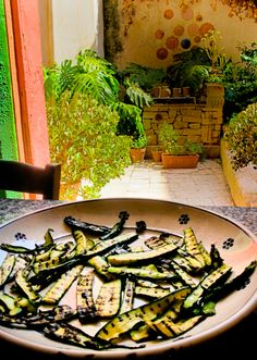 Grilled Zucchini at The Awaiting Table Cookery School, Lecce, Italy