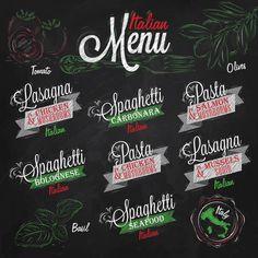 menu italian the names of dishes spaghetti lasagna pasta carbonara bolognese and other ingredients tomato basil olive drawing with color chalk on the blackboard. Italian Bistro, Italian Menu, Italian Bakery, Italian Party, Logo Pizzeria, Logo Restaurant, Chicken Carbonara Pasta, Pasta Menu, Chalk Menu
