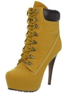 Work Boots for women ? Are these steel toe or steel heel.These would go killer with a pair of dickies low cut jeans and a gas station work shirt High Heel Boots, Heeled Boots, Bootie Boots, Shoe Boots, Ankle Boots, Women's Boots, Timberland High Heels, Cute Shoes, Me Too Shoes