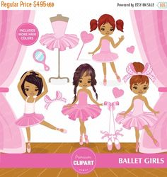 80% OFF SALE African american ballerina clipart, Ballerina Clipart, Ballet Clipart for Digital Scrapbooks, Commercial Use - CA102