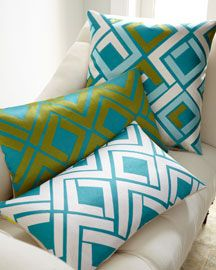 green & blue pillows - I love these. They remind me of vintage scarves.
