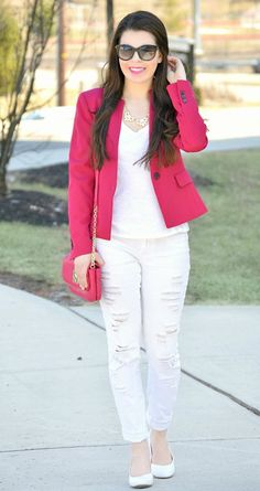 All white with a pop of pink for spring! http://www.theinspirationcloset.com/post/115898706342/all-white-with-a-pop-of-pink