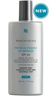 SkinCeuticals Physical Fusion UV Defense SPF 50......SkinCeuticals Physical Fusion UV Defense SPF 50 is a groundbreaking, weightless sunscreen featuring color-infused sunscreen technology that provides a universal tint and boosts daily radiance. It offers the photo protection of trusted broad-spectrum, physical filters, zinc oxide (Z-COTE®) and titanium dioxide, and is enhanced by artemia salina, a plankton extract, to increase the skin's defenses and resistance to UV and heat stress.