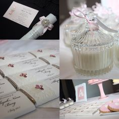 Pretty in Pink christening ideas. Invitations & chocolate bars made by Over the Rainbow Invites