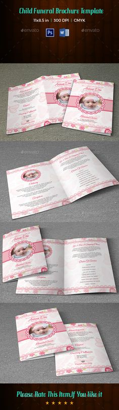 Floral Glory Funeral Program Template  Fonts Program Template