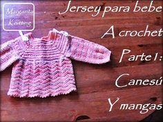 Jersey de bebe a crochet, parte 1: canesú y mangas (diestros) - YouTube