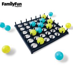 Bounce-Off: Its simplicity and lots of bouncing balls made this carnival-inspired entry a winner with our testers. Players bounce Ping Pong-like balls off the table and into the tray, aiming to match the pattern on a specific card. Whoever wins three rounds claims victory.