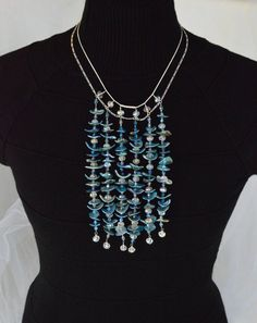 Steel Blue Shell and Aurora Borealis Crystal, Sterling Silver Double Chain, Multi Strand Bib Statement Necklace by Adrienne Adelle