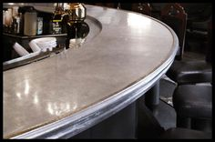 Pewter countertops have been used in French bistros and brasseries for centuries. Pewter's beauty has been rediscovered in the 21st century design thanks to its classically sophisticated appearance, versatility, and sustainability. Bastille Metal Works offers this traditional French product with a vast selection of custom edgings. All of our metals are 100% food-safe and the highest quality available for production.