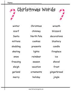 Winter Holiday Word List | christmas word list list of christmas words for writing stories