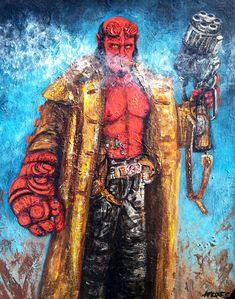 Hell Boy Acrylics,16x20,canvas Actor:Ron Perlman