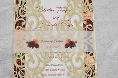 Burgundy and Gold Wedding Invitation // Gold Glitter image 4