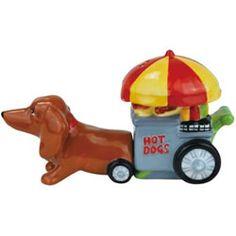 Dachshund Hotdog Stand Cart Salt and Pepper Shakers