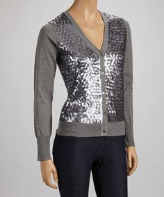 Take a look at this Gray & Silver Sequin Cardigan by ELIO on #zulily today!27