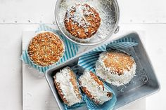 Memories of Anzac Day and tea and biscuits with her nan provide the inspiration for these Anzac ice cream sandwiches from MasterChef winner Elena Duggan. Gluten Free Cooking, Gluten Free Desserts, Gluten Free Recipes, My Recipes, Baking Recipes, Cake Recipes, Gluten Free Anzac Biscuits, School Cake, Almond Recipes