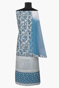 Ada Hand Embroidered Cream/Blue #Cotton Lucknowi Chikan Unstitched Suit Piece–A404794 offers a comfortable and relaxed silhouette to the wearer #Adachikan #chikankari #chikan #handcrafted #handembroidery #lucknow #chikanstitches #ustitched