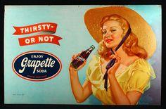 1940s GRAPETTE SODA PEARL FRUSH PIN-UP LARGE ADVERTISING SIGN GGA BEAUTY RARE NR #GrapetteSoda
