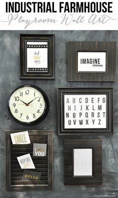 Industrial Farmhouse Playroom Wall Art! Would be awesome for a gallery wall, too!