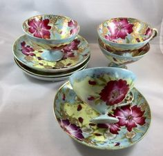 Handpainted Tea Cups and Saucers Set of 4 Light Blue Fuchsia Pink Yellow Gold vintage Very BOHO