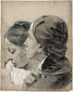 Giovanni Battista Piazzetta (1682-1754) . A Young Man Embracing a Girl, 1743 . Black Chalk, heightened with white on blue paper faded to gray, 15 9/16 × 12 7/16 in. (39.5 × 31.6 cm) at the National Gallery of Art, Washington D.C.