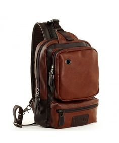3bf97f45e7bb Men s Leather Front Sling Backpack Satchel Shoulder Bag Chest Cycle Day  Packs - Brown - CI1833M7U0X