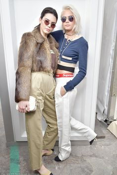 Cream dream: Kendall caught up with her pal Cara following the show