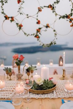 Molly & David's stylish elopement in Santorini, Greece in a bohemian and modern style! Planned & designed by Tie the Knot in Santorini. Boho Wedding Decorations, Wedding Centerpieces, Wedding Table, Wedding Trends, Wedding Designs, Wedding Styles, Wedding Ideas, Wedding Poses, Wedding Pictures