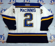 AL MacINNIS St Louis Blues SIGNED White Retro CCM JERSEY . $398.05. This is an official licensed SIGNED Al MacInnis St Louis Blues jersey. The jersey is brand new with all of the lettering and numbering professionally sewn on. The player has beautifully signed the number. To protect your investment, a Certificate Of Authenticity and tamper evident hologram from A.J. Sports World is included with your purchase.