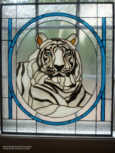 White Tiger Stained Glass Panel