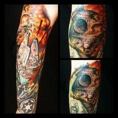 Destruction of the Death Star - Tattoo by Jim Warf, Elizabeth St Tattoo Riverside Ca.