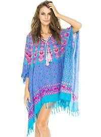 Beach Poncho with Crochet Pink Blue Peacock
