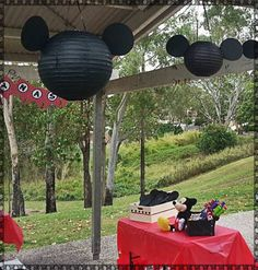 Mickey Mouse Birthday Party Ideas | Photo 15 of 21 | Black Chinese lanterns with black ears