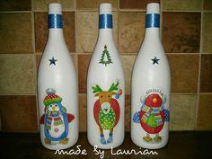 Kerst flessen bewerkt met een servet.