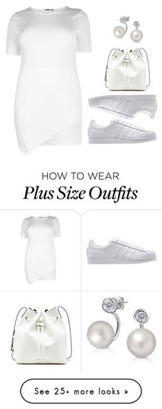 """""""Plus Size - Sporty White"""" by kurvy-katie on Polyvore featuring adidas Originals, Sole Society, Bling Jewelry, adidas, boohoo and plussizefashion"""