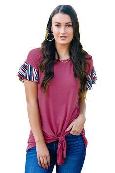 6aaeb43a217ea Rose Striped Ruffle Sleeve Tie Top. Ruffle ShortsRuffle SleeveLoose ShirtsPlus  Size ...