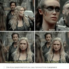 "Anyone who saw this knows that Bellamy freaked when Clarke wanted to prove this by drinking the ""poison"" love him"