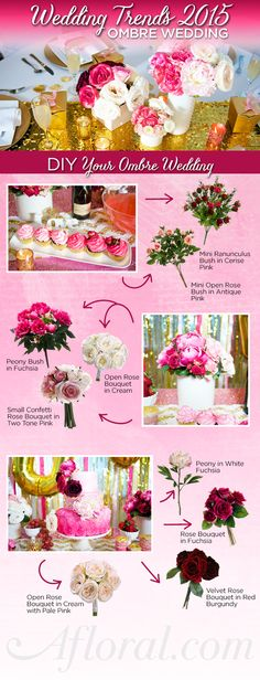 DIY Wedding Decorations.  Get the ombre look at your wedding with silk flowers from Afloral.com.  Perfect for the bride on a budget.