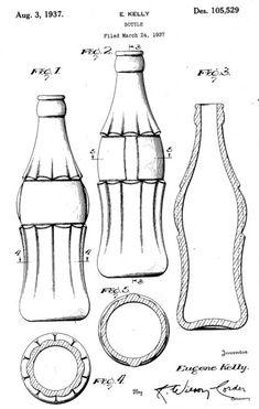 Patente de la botella de Coca-Cola, años 30. Por beachpackagingdesign.typepad.com