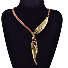 GOODLIFE Bohemian Style Rope Chain Feather Pendant Necklace - 2 Colors  Available. Choker JewelryChoker NecklacesChain ... a33f2248bf9b