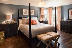 Modern, cheerful bedroom with orange and gray :: M/I Homes of Cincinnati: Del Mar at Triple Crown - Nicholas Model