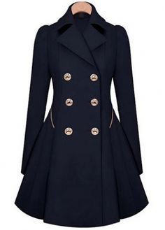 Laconic Double Breasted Long Sleeve Trench Coat with Turndown Collar