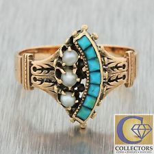 600 1880s Antique Victorian 14k Solid Rose Gold Turquoise Pearl Cluster Band Ring
