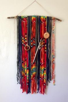 Recycled Pendleton Wool Wallhanging with wood by KAYLABURKEDESIGN