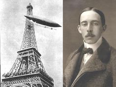 Santos Dumont e seu balão aerostático em 1898.